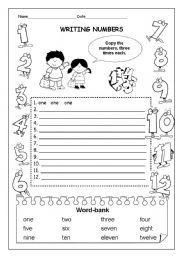 English Worksheets: PART1/3   WRITING NUMBERS  1- 12