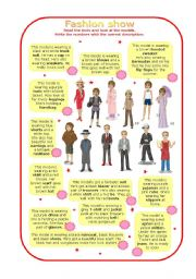 English Worksheets: Fashion show (part 1 of 2)