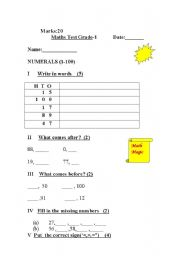 English Worksheets: Numerals (1-100)