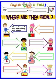 English Worksheet: WHERE ARE THEY FROM ?