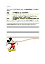 English Worksheet: WRITING.Biographies.Mickey Mouse