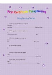 English Worksheet: first certificate paraphrasing tenses 1