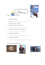 English Worksheet: UP: A wonderful movie to work in class