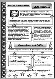 English Worksheet: ALUMINIUM  / READING COMPREHENSION