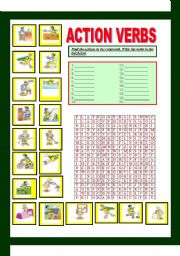 English Worksheets: ACTION VERB CROSSWORD(2/3)