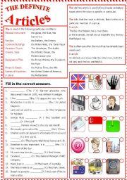 English Worksheet: The Definite Articles - Intermediate