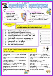 English Worksheets: present simple or present progressive