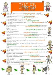 English Worksheet: adjectives ending with ing or ed