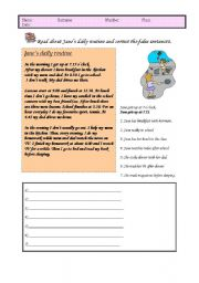 English Worksheets: Dailt routines