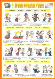 English Worksheet: Fourth series of 3-Word Phrasal Verbs. Exercises (Part 2/3). Key included!!!