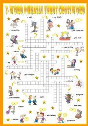 English Worksheet: Fourth series of 3-Word Phrasal Verbs. Crossword (Part 3/3)