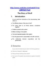 English worksheet: the story of stuff
