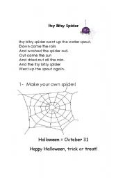 English Worksheet: Itsy Bitsy Spider Song