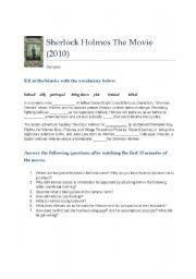English Worksheet: Sherlock Holmes 2010 The Movie - Part 1