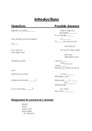 English Worksheets: Introduction Question and Answers