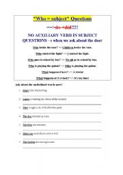 English Worksheets: Subject questions