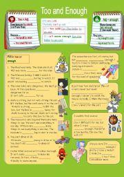 English Worksheet: Too & Enough