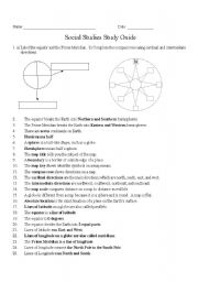 English Worksheets: Social Studies Study Guide/Information Sheet