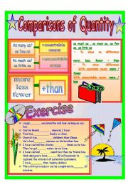 English Worksheet: Comparisons of Quantity