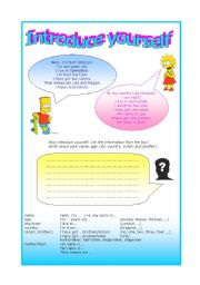 English Worksheets: Introduce yourself - writing