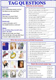 English Worksheets: Tag Questions - B/W - Keys included