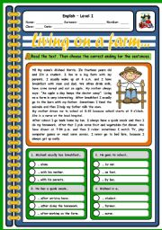 English Worksheet: LIVING ON A FARM (2 PAGES)