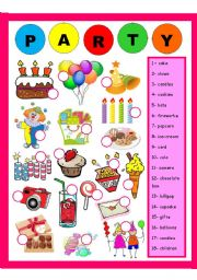 English Worksheets: Party - Exercise
