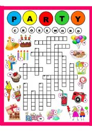 English Worksheet: Party Crossword