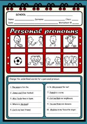 English Worksheet: PERSONAL PRONOUNS