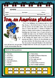 English Worksheet: TOM, AN AMERICAN STUDENT ( 2 PAGES )