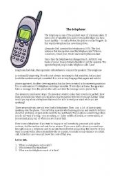 English Worksheets: The telephone