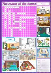 English Worksheet: The rooms of the house - crosswords + unscramble (fully editable)