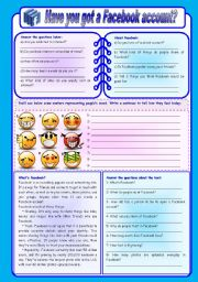 English Worksheet: Have you got a Facebook account? - moods, writing and comprehension (fully editable)