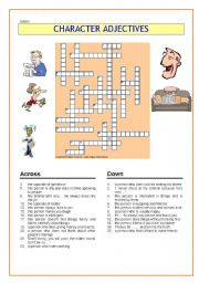 English Worksheet: A crossword: Character adjectives
