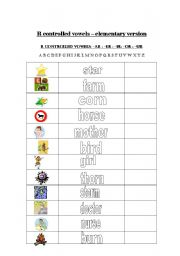 English worksheet: r controlled vowels word list