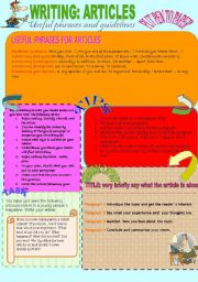 English Worksheet: Writing articles