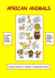 English Worksheets: african animals