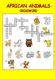 English Worksheets: crossword-african animals