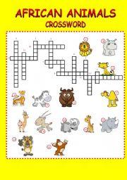 English Worksheet: crossword-african animals