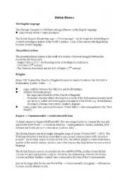English Worksheet: British History (short summary)