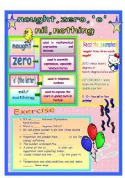 English Worksheets: Nought, Zero, �O�,  Nil, Nothing