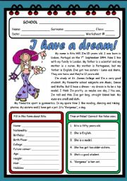 English Worksheet: I HAVE A DREAM! ( 2 PAGES )