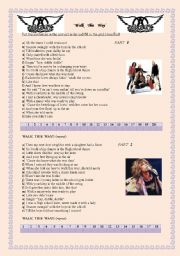 English Worksheet: �Walk this way�, by Aerosmith
