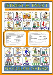 English Worksheet: PAST ROUTINES with REGULAR VERBS