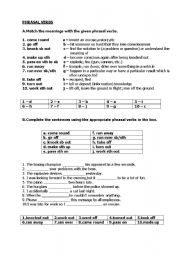 English Worksheets: face2face-upper intermediate unit 4A phrasals