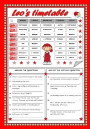 English Worksheet: LEO´S TIMETABLE