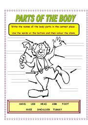 English Worksheets: PARTS OF THE BODY 1