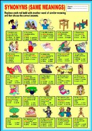 English Worksheet: SYNONYMS (same meanings)