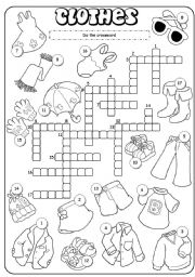English Worksheet: Clothes crossword