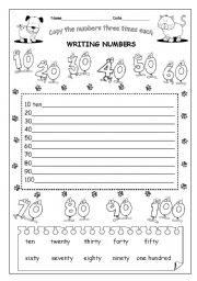 English Worksheets: PART3/3   WRITING NUMBERS 10-100